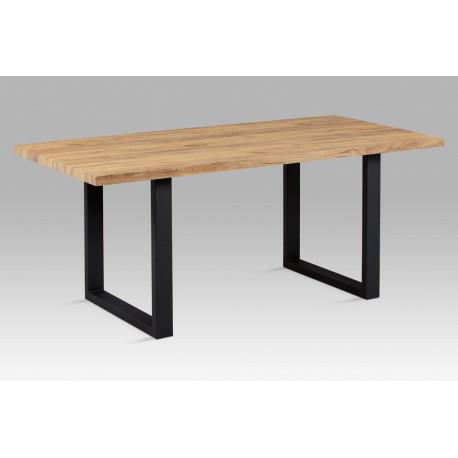Jídelní stůl 180x90 cm, 3D folie dekor dub / černý kov