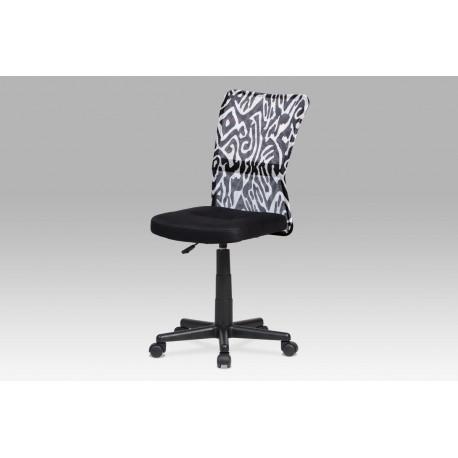 Kancelářská židle, černá mesh, plastový kříž, síťovina motiv