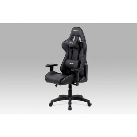 Kancelářská židle houpací mech., černá koženka, plast. kříž