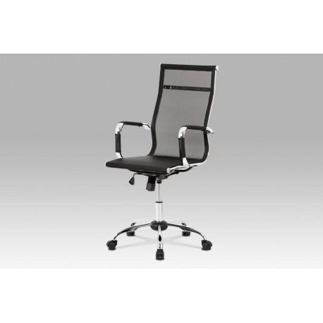 Kancelářská židle, černá MESH síťovina, houpací mech, kříž chrom