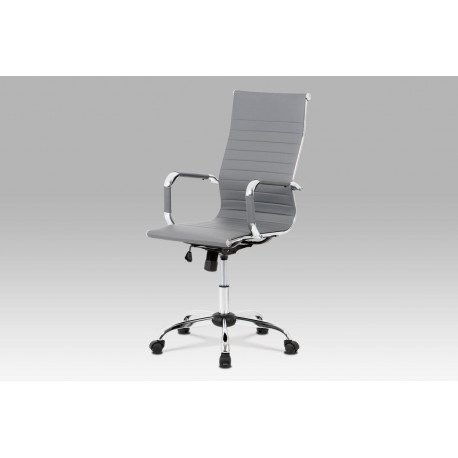 Kancelářská židle, šedá ekokůže, houpací mech, kříž chrom