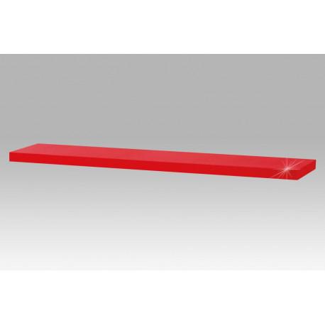 Nástěnná polička 120cm, barva červená - vysoký lesk.