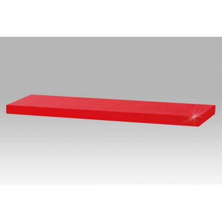 Nástěnná polička 80cm, barva červená - vysoký lesk