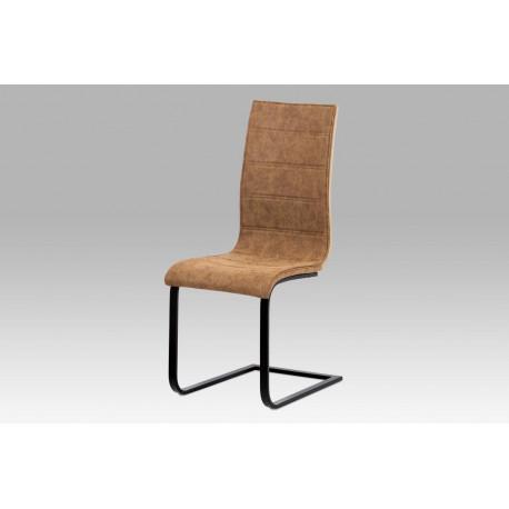 """Jídelní židle, látka """"COWBOY"""" hnědá, překližka San Remo, kov matná černá"""