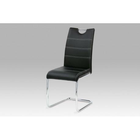 Jídelní židle, chrom/koženka černá s bílým prošitím