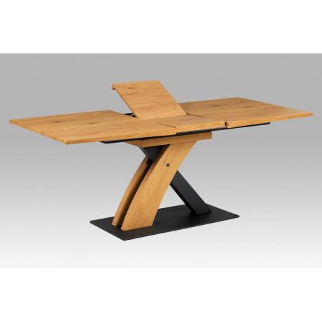 Jídelní stůl 160+40x90, divoký dub MDF, kov matná černá HT-701 OAK